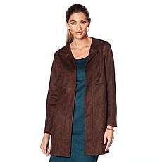 Slinky Brand Long-Sleeve Faux Suede Duster