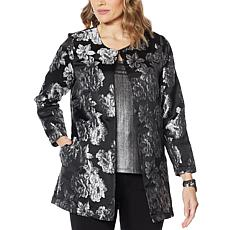 Slinky® Brand Long-Sleeve Floral Jacquard Duster Jacket