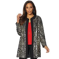 Slinky® Brand Long-Sleeve Jacquard Duster Jacket