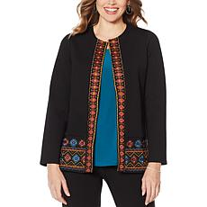 Slinky® Brand Ponte Jacket with Embroidered Trim