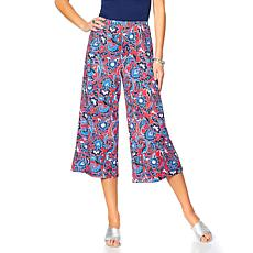 Slinky® Brand Printed Cropped Wide-Leg Pant