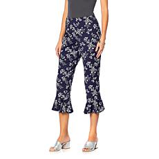 Slinky® Brand Printed Knit Cropped Pant with Ruffle Hem