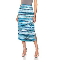 Slinky® Brand Printed Knit Maxi Skirt with Side Slits
