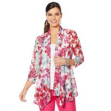 Slinky® Brand Printed Lace Front Peplum Jacket