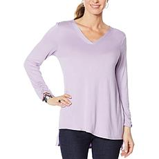 Slinky® Brand Ruched-Sleeve V-Neck Tunic with Step Hem