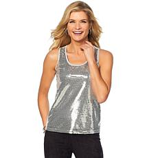 Slinky® Brand Sequin Tank with Jersey Knit Back