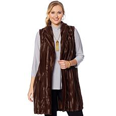 Slinky® Brand Shawl Collar Faux Fur Long Duster Vest