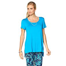 Slinky® Brand Short-Sleeve Knit Step-Hem Tunic