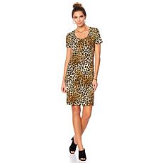 Slinky® Brand Short-Sleeve Scoop-Neck Printed Dress