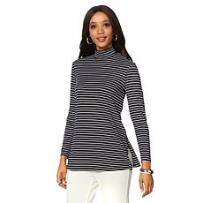 Slinky® Brand Striped Rib Knit Long-Sleeve Mock-Neck Tunic