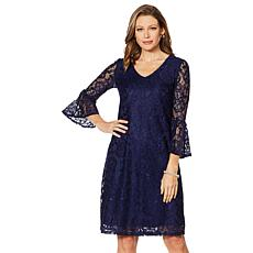 Slinky® Brand V-Neck Lace Dress