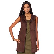 Slinky® Plaid Faux Suede Duster Vest