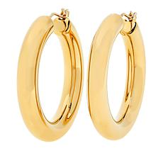 """Soave Oro 14K Electroform 5mm Round Hoop Earrings - 1-7/16"""""""
