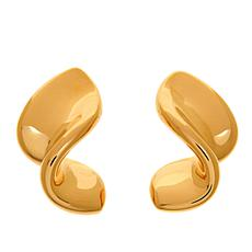 Soave Oro 14K Gold Electroform Polished Ribbon Earrings