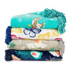 Soft and Cozy Printed Plush Throw with Fringe