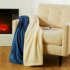 Soft & Cozy Reversible Heated Plush/Sherpa Throw