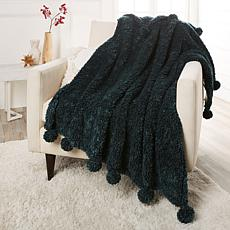 Soft & Cozy Tip-Dyed Sherpa Throw with Pompoms