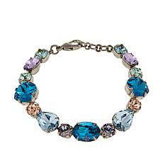 "Sorrelli Jewelry Blue and Multi Crystal 7"" Link Bracelet"