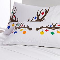 South Street Loft 100% Cotton 2-pack Pillowcases - Reindeer Ornament
