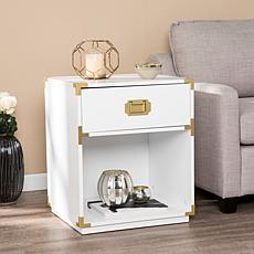 Southern Enterprises Campaign Storage Side Table - White