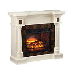 Southern Enterprises Carrington Faux Slate Infrared Fireplace - Ivory