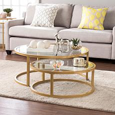 Southern Enterprises Opalyn 2-Piece Nesting Cocktail Table Set - Gold