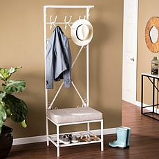 Southern Enterprises Owen Entryway Bench/Storage Rack - Matte White