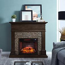 Southern Enterprises Warweck Faux Stone Infrared Fireplace - Gray