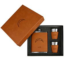 Sparo Brown Los Angeles Chargers Personalized Flask and Shot Set