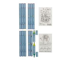 Spectrum Noir Aqua Tri-Color Markers and Clear Stamp Set