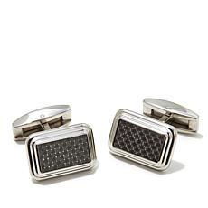 Stainless Steel and Carbon Fiber Rectangular Cuff Links