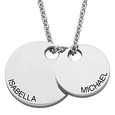 Stainless Steel Engraved Couples Name Double Disc Necklace