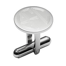 Stainless Steel Engraved Round Monogram Cuff Links