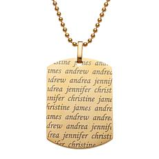 Stainless Steel Men's Family Names Dog Tag Pendant