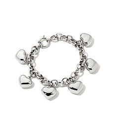 "Stainless Steel Puff Heart Charm 8"" Rolo-Link Bracelet"