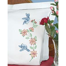Stamped Pillowcases With White Perle Edge 2pk - Birds