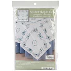 "Stamped White 18"" x 18"" Aqua Butterfly Quilt Blocks"