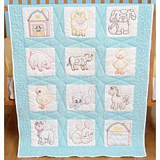 Stamped White Nursery Quilt Blocks