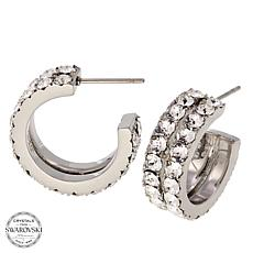 Stately Steel 2-Row Crystal Stainless Steel Hoop Earrings