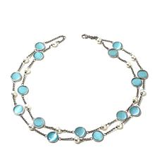 Stately  Steel 2-Row White Bead & Glass Disc Necklace