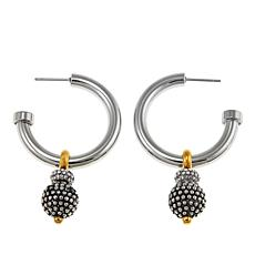 Stately Steel 2-Tone Crystal Beaded Hoop Earrings