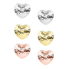 Stately Steel 3 pairs Hammered Puff Heart Stud Earrings