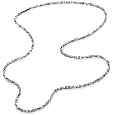 "Stately Steel 4mm 36"" Byzantine Chain Necklace"