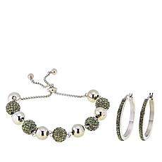 Stately Steel Adjustable Crystal Bracelet and Hoop Earrings Set