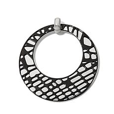 Stately Steel Black Overlay Open Disc Pendant