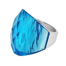 Stately Steel Blue Glass Ring