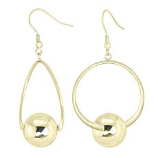 Stately Steel Circle and Ball Hoop Earrings