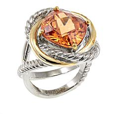 Stately Steel Criss-Cross 2-Tone Square Faceted Glass Stone Ring