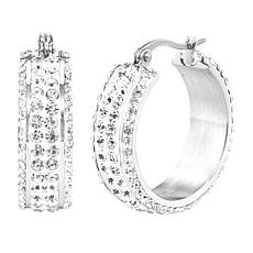 Stately Steel Crystal Hoop Earrings