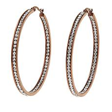 "Stately Steel Crystal Inside/Outside 2"" Brown-Plated Hoop Earrings"
